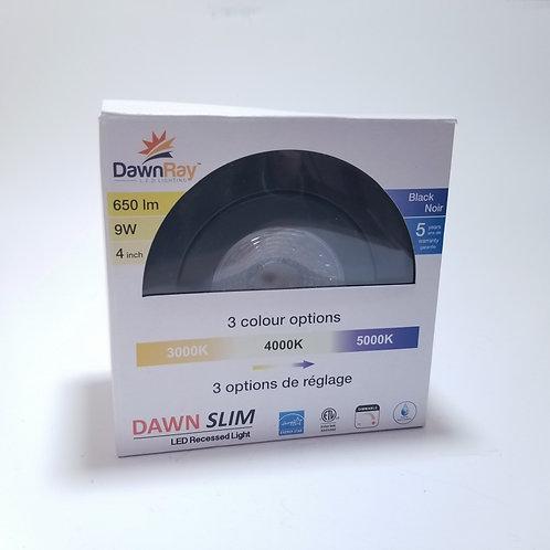 "DawnRay LED Panel Light 4"" Round Gimbal Dimmable 9W 3 light color options Black"