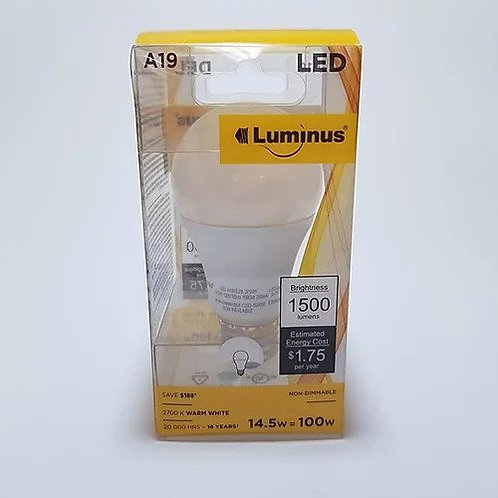 Luminus LED 14.5W - 100W A19 Bulb 2700K Non-Dimmable