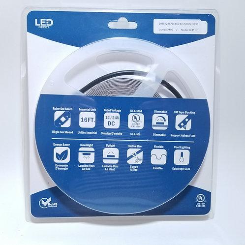 LED Strip Light 2835/288/36W 24V IP33 5000K 16ft
