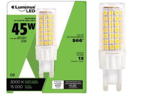 LED Bulb G9 5W Equivalent 45W  - Dimmable - Bright White PLYC1983