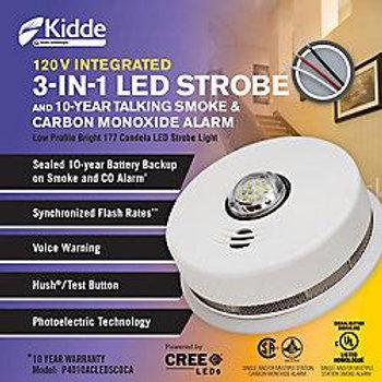Kidde 3 in1 Strobe Smoke, Carbon Monoxide Alarm hardwire w/ 10yr Battery back up