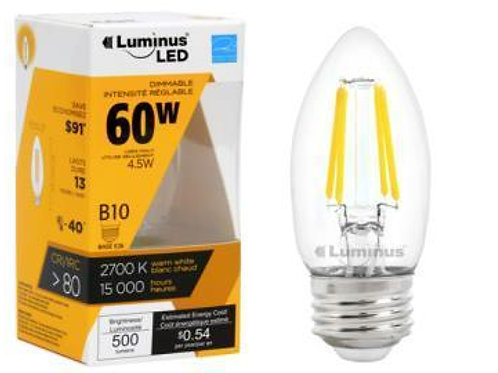 Luminus 4.5W (60W) Chandelier - FLSNT Dimmable Clear LED Filament Candle, 2700K