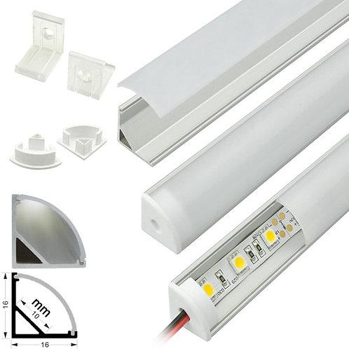 With Strip Light Super Slim 45 ° Angle Aluminum Profile per foot