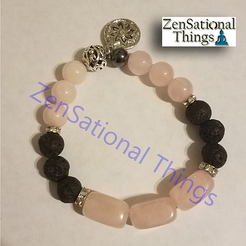 Reiki Charged AromaBracelets - Lava Rose Quartz with a Hematite Bead and Charm