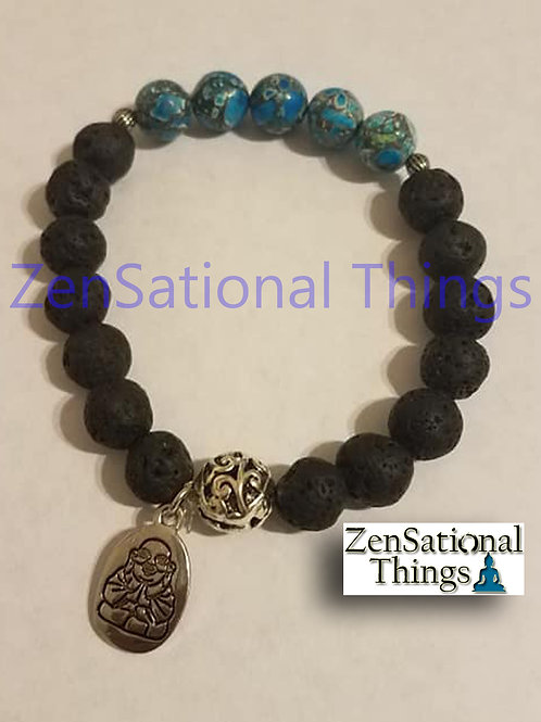 Reiki Charged AromaBracelets - Lava and Howlite Blue
