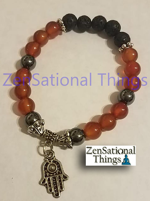 Reiki Charged AromaBracelet - Lava, Carnelian and Hematite
