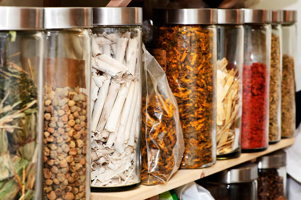 Chinese Medicinal herbs in container - The Lycium Centre