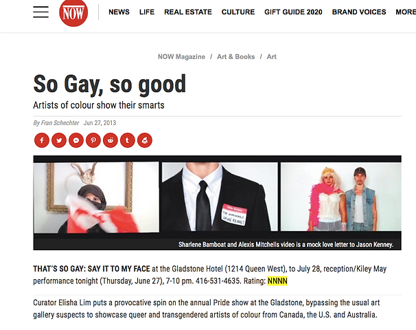 """A screenshot from a NOW Magazine article titled """"So Gay, so good"""" from June 27 2013. The article is in reference to the TSG 2013 show curated by Elisha Lim."""