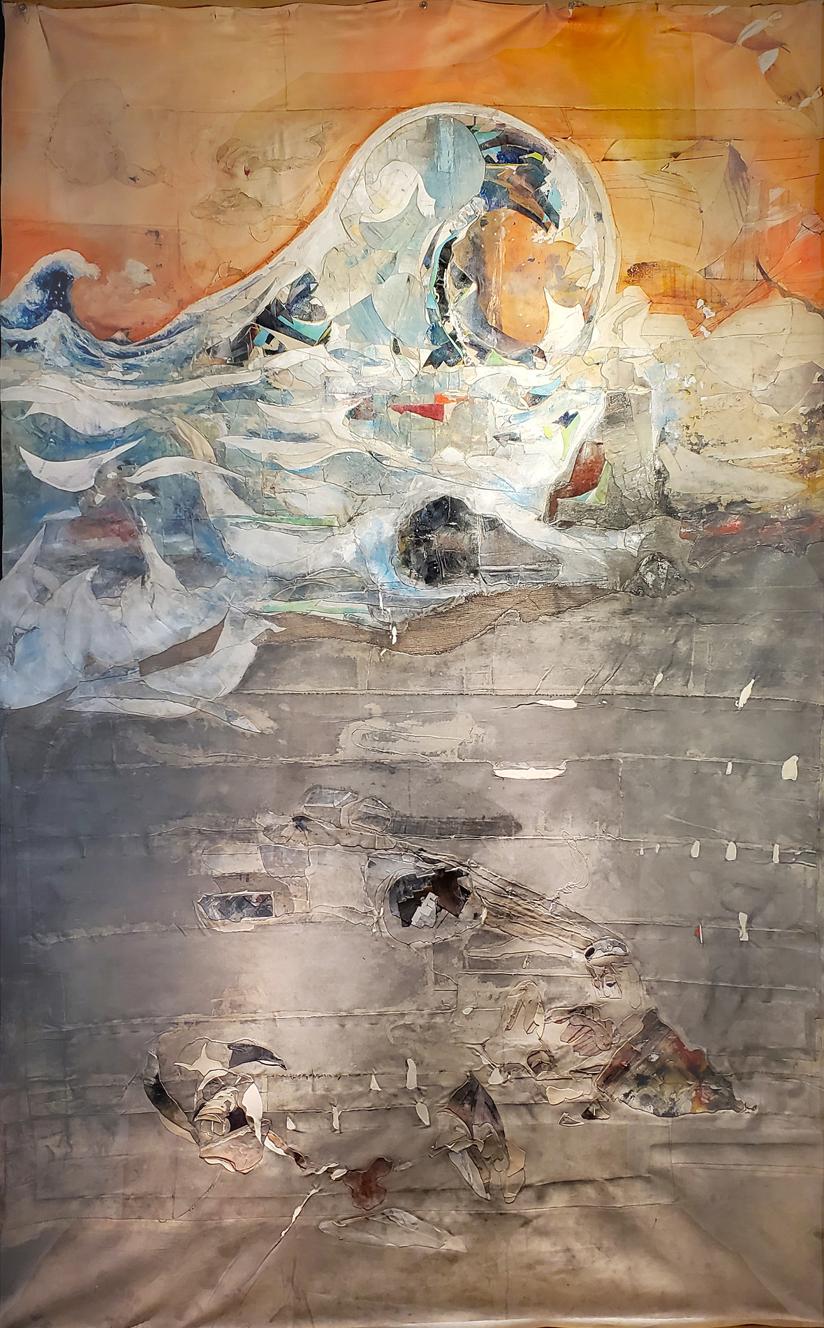 Waves & Bathers painted by Christopher Rodrigues. Painted in 2020. Acrylic & Canvas. 12 feet by 8 feet. The painting is that of white and blue waves, over an orange sky.