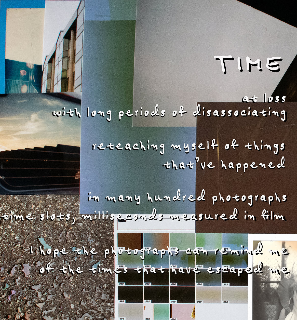 """A digital collage by Ifetayo Alabi from 2020. Highlighting """"Time"""", white text sits over a series of photographs."""