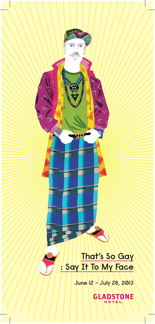 The postcard for That's So Gay: Say It To My Face curated by Elisha Lim in 2013. The illustration is Prem by Meera Sethi and features an individual in colourful clothing standing confidently.