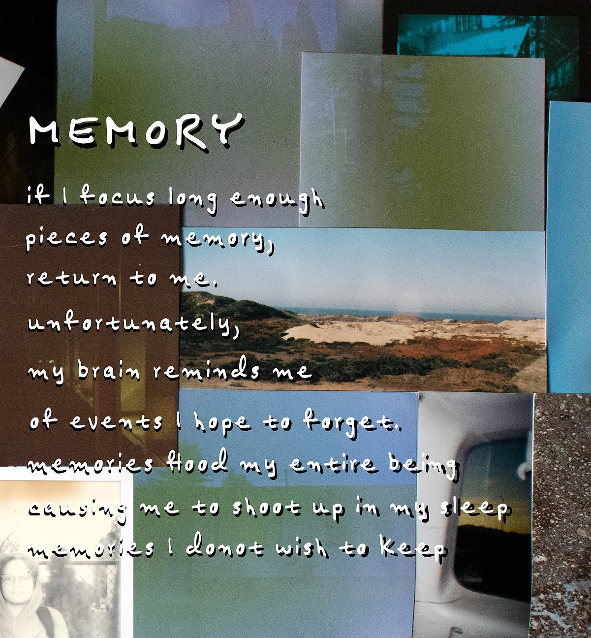 """A digital collage by Ifetayo Alabi from 2020. Highlighting """"Memory"""", white text sits over a series of photographs."""