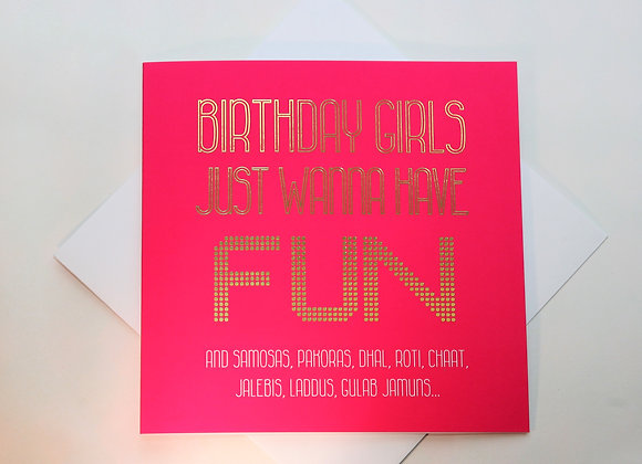 Birthday Girls Paisley Plush Greeting Card Full