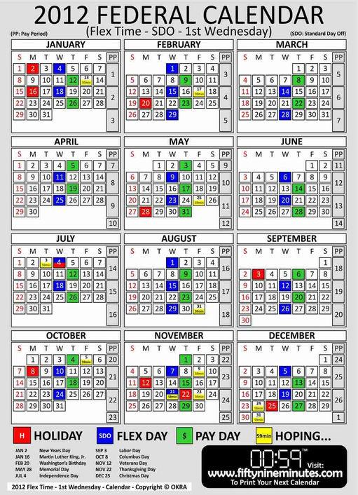 2013 US Federal Government Calendar DOD Pay Period Calandar cal 2nd thu 2012