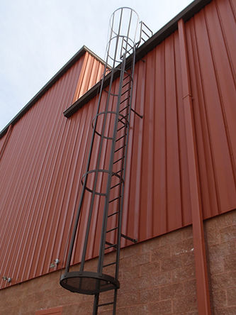 Exterior roof access ladder - example of metal building accessories