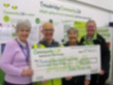 Trowbridge Link volunteers receiving cheque from Asda Green Token scheme