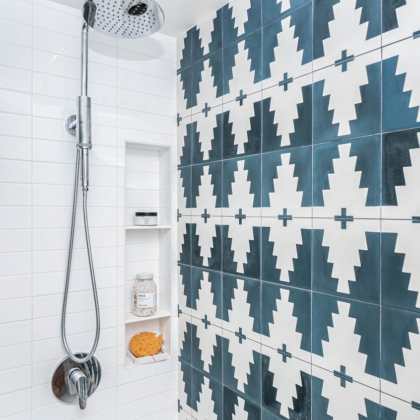 Cement tile and shower system with hand wand