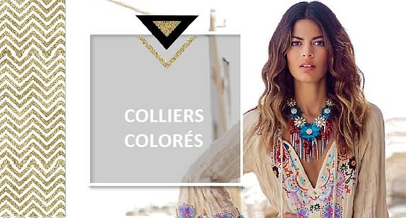 Des colliers colorés et originaux en bois, en perles, plumes ou pompons qui réveilleront votre garde-robe de teintes chaudes et chamarées. Optez pour la couleur et donnez du peps à vos journées maussades. Bonne humeur garantie !