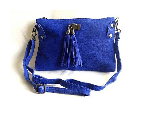Pochette bandoulière daim bleu