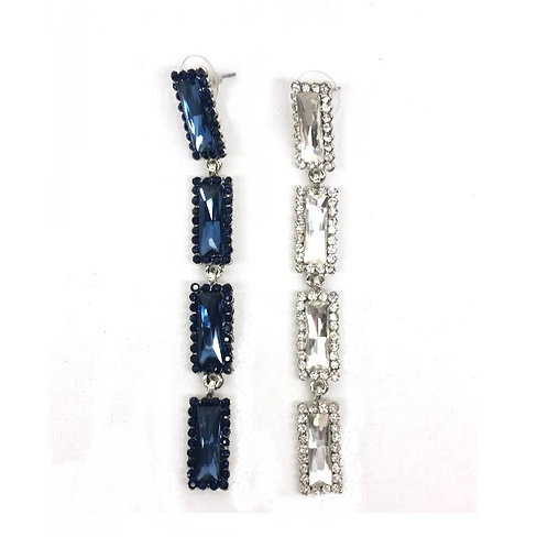 Boucles d'oreilles strass rectangle