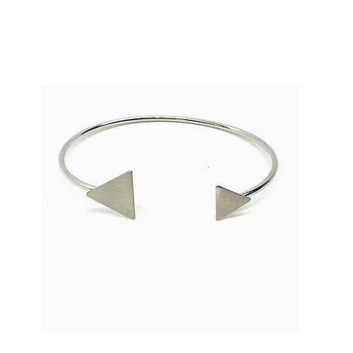 Bracelet charm métal argenté triangle