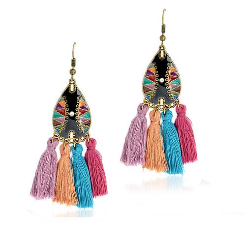 Boucles d'oreilles folkloriques pompons multicolores