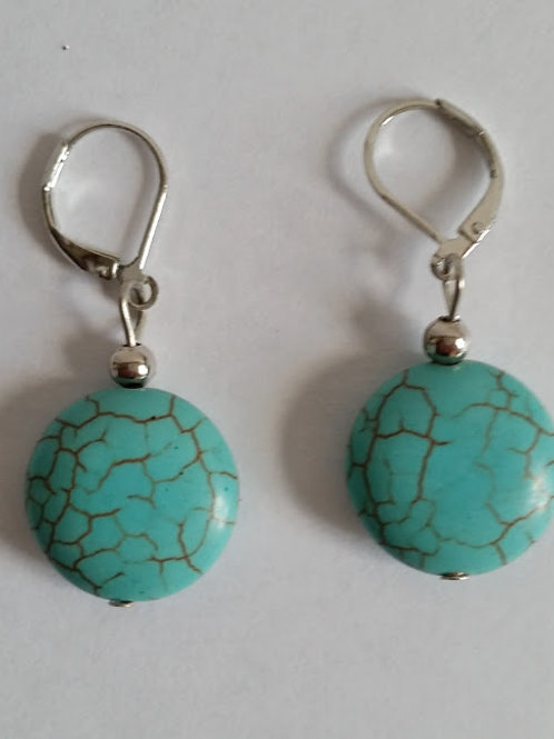 BOUCLES PIERRE TURQUOISE RONDE