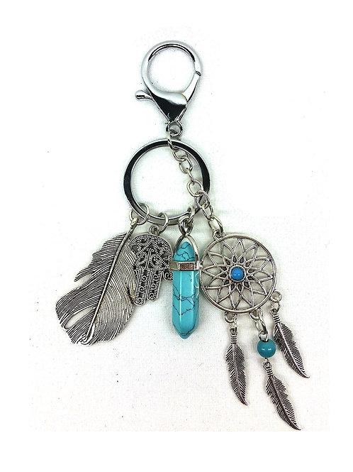 Porte clef breloques amérindienne turquoise