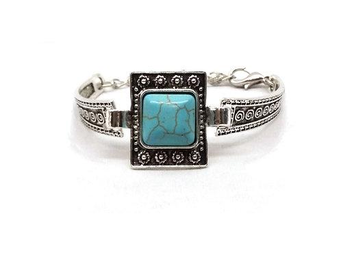 Bracelet jonc métal argenté vintage turquoise carrée