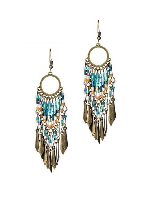 Boucles d'oreilles longues perle rocaille turquoise