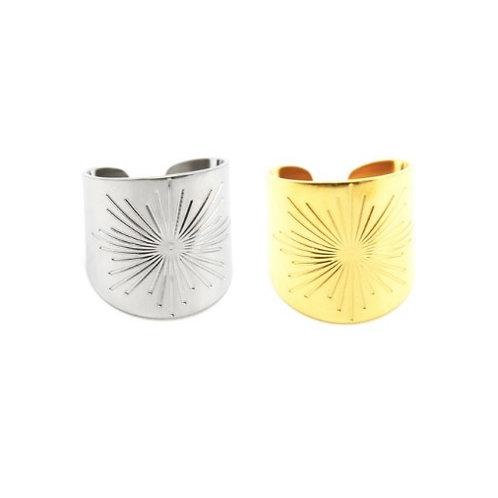Bagues larges en acier doré ou argenté soleil