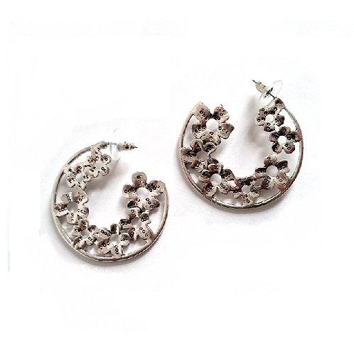 Boucles d'oreilles créoles fleurs