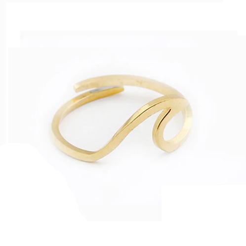 Bague dorée forme vague acier inoxydable