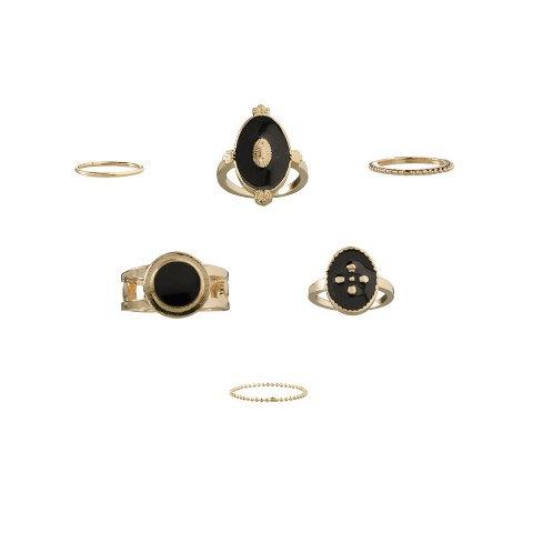 6 bagues de phalanges vintage dorées émail noir