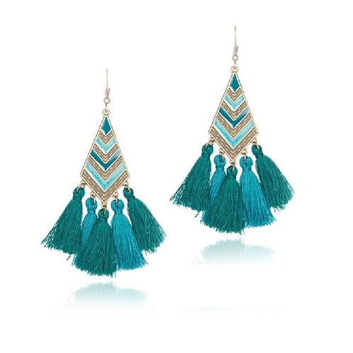 Boucles pendantes pompons turquoise