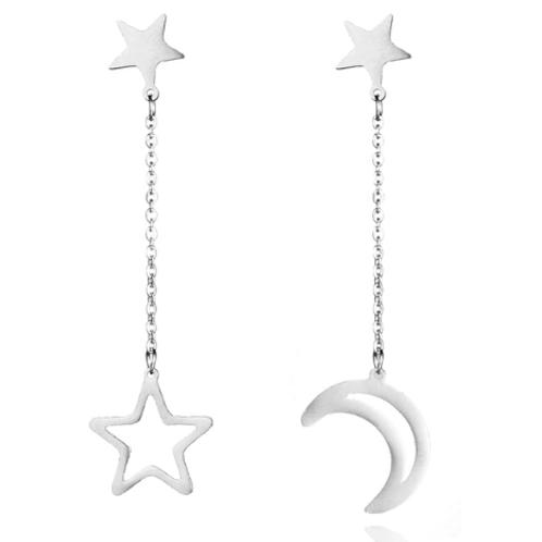 Boucles d'oreilles pendantes lune étoile acier argenté