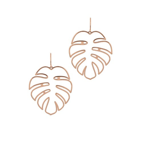 Boucles d'oreilles pendantes feuille tropicale