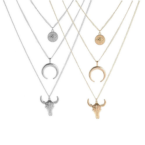 Collier multirang tête de buffle