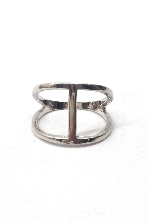 Bague métal argenté forme H