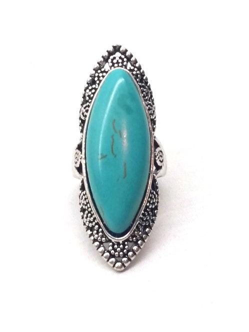 Bague cabochon pierre turquoise