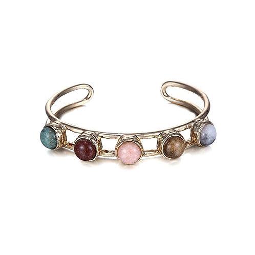 Bracelet jonc métal doré pierres