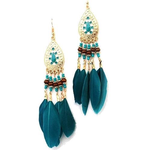 Boucles d'oreilles plumes turquoises