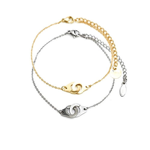 Bracelet acier chaîne dorée ou argenté menottes