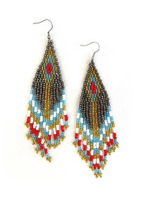 Boucles d'oreille longues en perles de rocailles