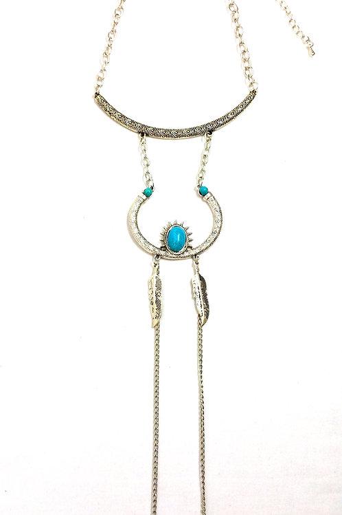 Collier fin sautoir chaînettes plume en métal et turquoise