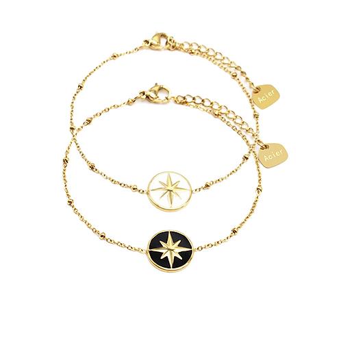 Bracelet acier chaîne médaille émail étoile polaire