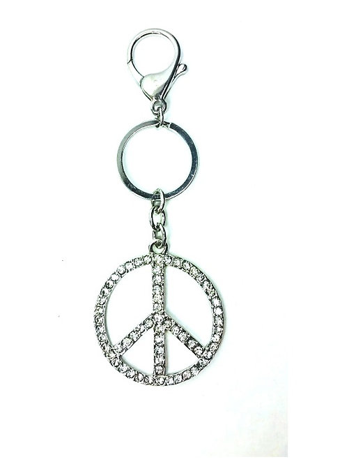 Porte clef sigle peace and love strass