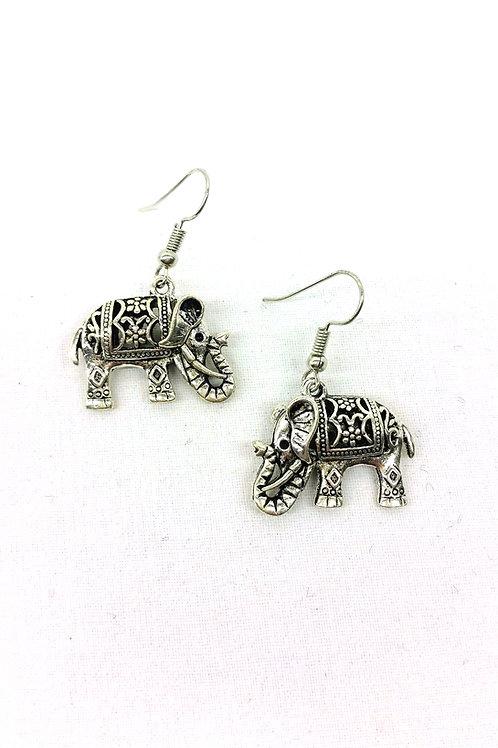 Boucles d'oreille éléphant argent