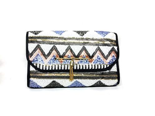 Pochette pailletée motifs triangle bleu et marron