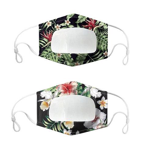 Masque tissu avec fenêtre transparente